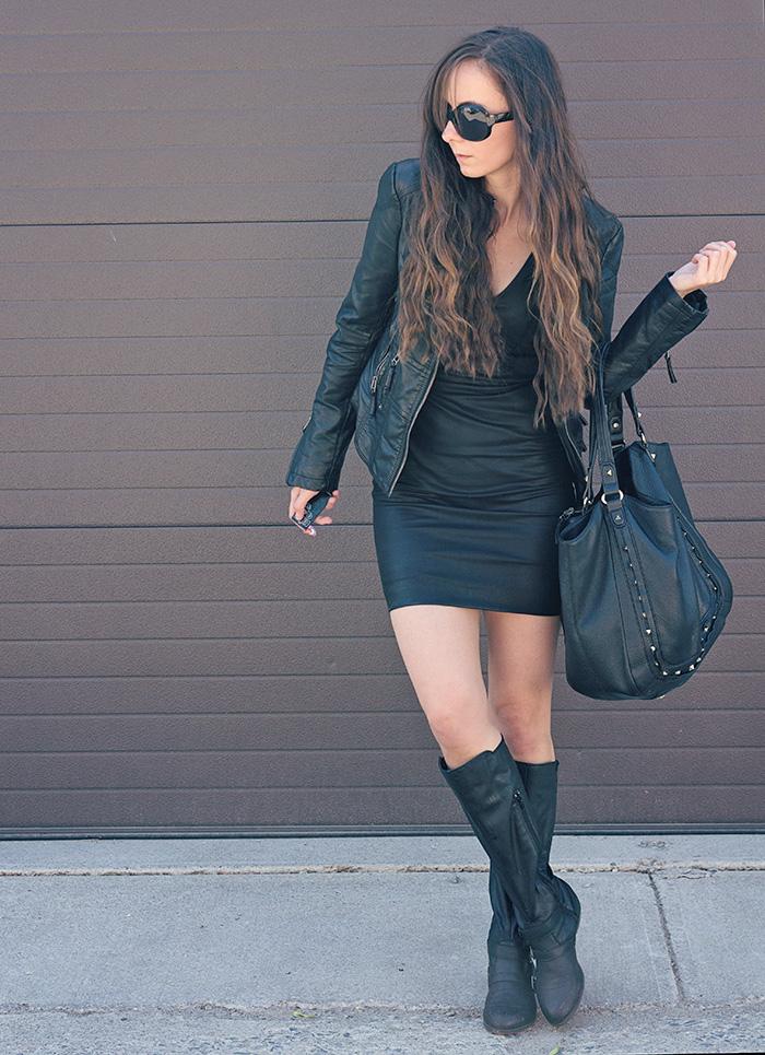 Black-leather-dress-and-jacket