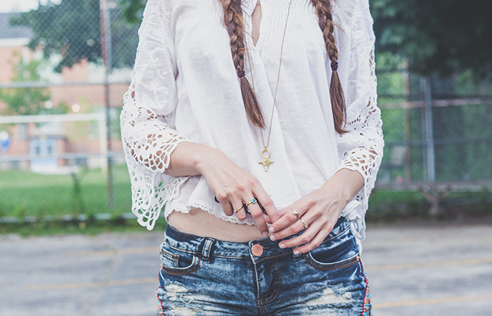 Embroidered-Shorts-Bell-Sleeve-Blouse